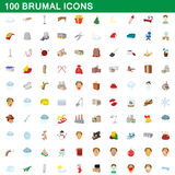 100 brumal icons set, cartoon style. 100 brumal icons set in cartoon style for any design vector illustration Royalty Free Stock Images