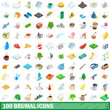 100 brumal icons set, isometric 3d style Stock Photography