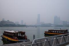 Brume à Singapour Photo libre de droits