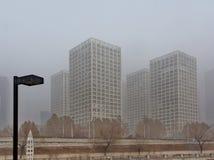 Brume étendue au-dessus de Pékin CBD Photographie stock libre de droits
