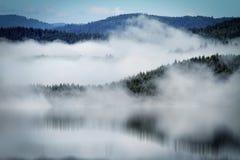 Brume au-dessus du lac Photo stock