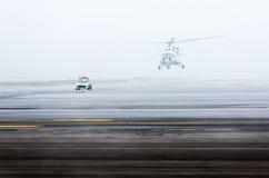 Brume de brouillard de voiture d'hélicoptère Images libres de droits