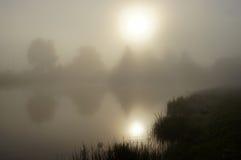 Brume de matin sur l'étang. Image libre de droits