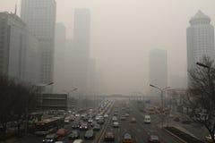 Brume plus lourde autour de Pékin Images libres de droits