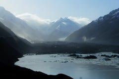 Brume sur le glacier de Tasman Images stock