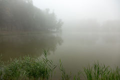 Brume sur un lac photo stock