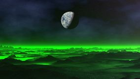 Brume verte au-dessus de la planète étrangère clips vidéos