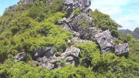 Brummen entfernt vom Mädchen, das oben große scharfe Felsen klettert stock video