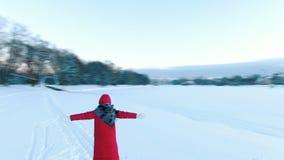 Brummen fliegt um das Mädchen im Rot hinunter Jacke im Winter Frau wirft Schnee stock footage