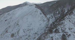 Brummen-Luftflug in den Bergen im Winter stock footage
