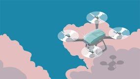 Brummen quadcopter, das in den Himmel, flache isometrische Illustrationen des Vektors 3d fliegt lizenzfreies stockfoto