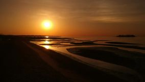 Brummen-Sonnenaufgang auf dem Strand stock video