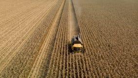 Brummenansicht des mähenden Maisfeldes der Erntemaschine stockbild