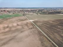 Brummenbild Vogelperspektive der nassen bebauten Landwirtschaft fängt Ne auf Stockfoto