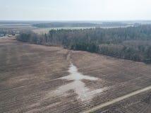 Brummenbild Vogelperspektive der nassen bebauten Landwirtschaft fängt Ne auf Stockfotos