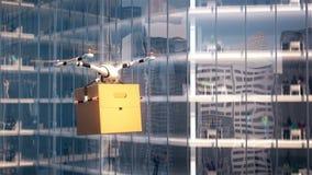 Brummenlieferungsfliegen trägt Produktpapierkasten auf Stadthintergrund lizenzfreie abbildung