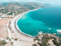 Brummenschu? in Griechenland Paleochora Schöne Aussicht von der Spitze mit Meer-treea im Hintergrund stockfoto