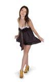 brun älskvärd brunettklänningflicka Royaltyfri Foto