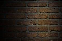 Brun bakgrund för tegelstenvägg med lågt ljus fotografering för bildbyråer