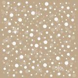 Brun bakgrund för vektorjul med vita snöflingor Fotografering för Bildbyråer