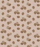 Brun bakgrund med kaffebönor Seamless bakgrund royaltyfri illustrationer