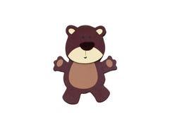 Brun björn som isoleras på vit Arkivfoto