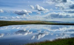 Brun Clough Reservoir and Pennines Royalty Free Stock Photo