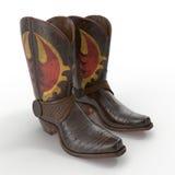 Brun cowboy Boots med dekorativt sy på vit illustration 3d Arkivfoto
