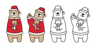 Brun d'illustration de personnage de dessin animé de nounours de Santa Claus Hat de Noël d'ours blanc de vecteur d'ours illustration libre de droits
