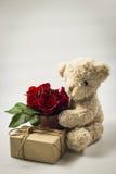 Brun d'ours de nounours avec des pots de boîte-cadeau et en métal Photographie stock libre de droits