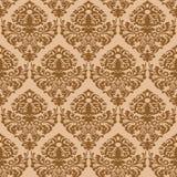 brun damastast seamless textur Royaltyfri Fotografi