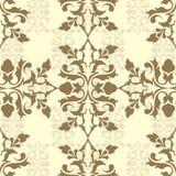 brun damastast wallpaper Vektor Illustrationer