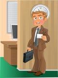 brun dräkt för affärsaffärsmankort royaltyfri illustrationer