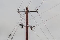 Brun elektricitet Pole med trådar och isolatorer royaltyfria foton