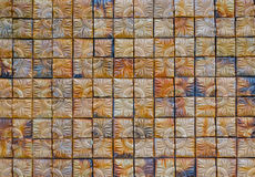 Brun fyrkantig bakgrund för tegelstenvägg, abstrakt bakgrund Royaltyfria Foton