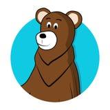Brun gråsprängd avatarsymbol för björn Arkivfoton