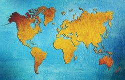 Brun grungevärldskarta arkivbild
