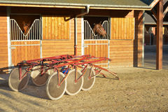 Brun häst med sulkys Royaltyfri Fotografi