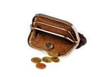 Brun handväska med mynt Royaltyfria Bilder