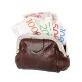 Brun handväska med sedlar Arkivbilder