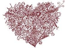 Brun hjärta i zentanglestil bakgrund isolerad white Växt- modell för den vuxna linjen konst för spänning för färgläggningbok anti Royaltyfri Fotografi
