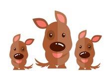 Brun hundvektor på vit bakgrund stock illustrationer