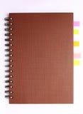 brun indexanteckningsbokanteckningsbok Arkivbild
