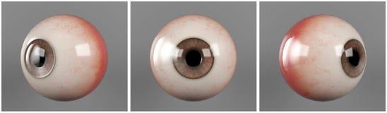 Brun iriselev för realistiska mänskliga ögonglober arkivbilder