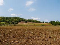 Brun jord plogade jord av ett jordbruks- fält Royaltyfri Fotografi