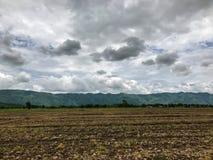 Brun jord plogade jord av ett jordbruks- fält Fotografering för Bildbyråer