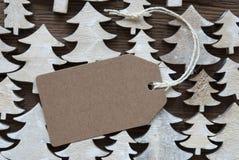 Brun juletikett med kopieringsutrymme Arkivfoton