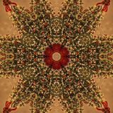 Brun julgranabstrakt begreppMandala Kaleidoscope textur royaltyfri fotografi