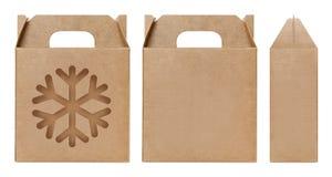 Brun klippt förpackande mall för askfönster ut form, tom askpapp, låda för ask för askpapperskraft materiell gåva brun förpackand fotografering för bildbyråer