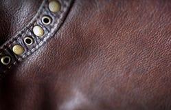 Brun läderbakgrund Royaltyfria Bilder